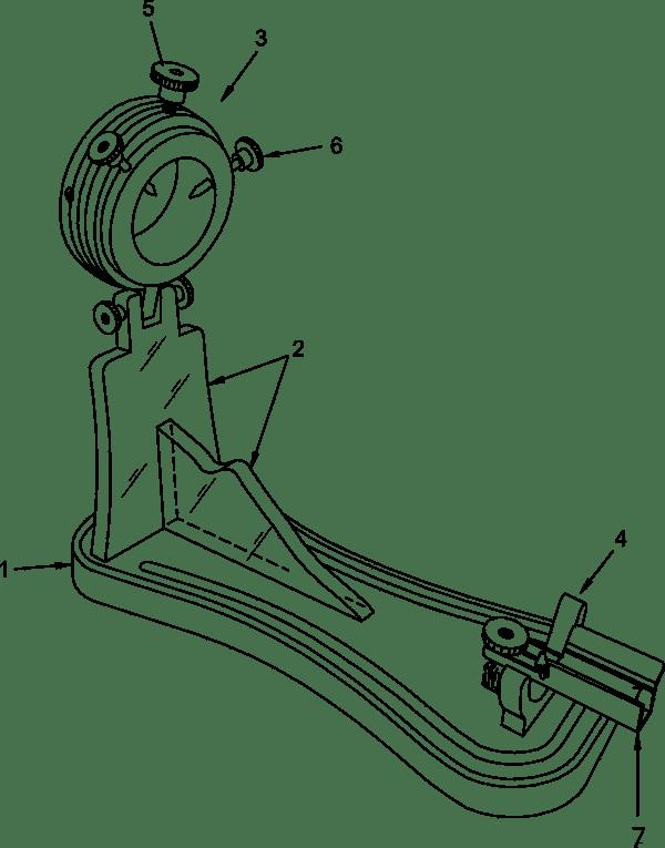 [1] Tabla-base [2] Soporte [3] Fijación Pezuña [4] Fijación maza o babilla [5] Prisionero rotor [6] Prisioneros pezuña [7] Fijación paleta
